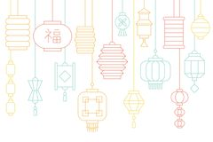 Chinese lantern banner for lunar new year and mid autumn festival. Thin line illustration Stock Photography