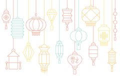Chinese lantern banner for lunar new year and mid autumn festival. Thin line illustration Royalty Free Stock Photo