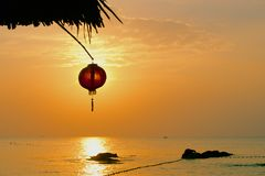 Chinese lantern on the beach Royalty Free Stock Photography