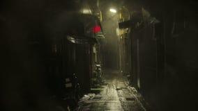 Chinese lantern blowing in dark alleyway. Establishing shot. Chinese lantern blowing in dark alleyway on a stormy night. Establishing shot stock video footage