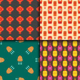 Chinese lantern collection vector seamless pattern paper holiday celebrate graphic celebration sign Stock Images