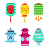 Chinese lantern collection vector set paper holiday celebrate graphic chinese celebration sign Stock Photos
