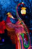 Chinese lantern fabulous phoenix bird. Bright beautiful fairy bird of traditional Asian mythology. Chinese multicolored glowing lantern. Spring Festival Chinese stock images