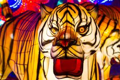 Chinese Lantern Festival Chinese New Year Tiger Lantern. ALBUQUERQUE, NEW MEXICO, USA- NOVEMBER 12,2017: Chinese Lantern Festival lit up at night to celebrate Royalty Free Stock Photography