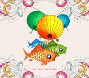 Chinese lantern festival doodle graphic design.  stock illustration