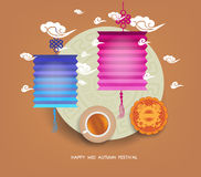 Chinese lantern festival. Mid autumn full moon, cake and tea.  Royalty Free Stock Image