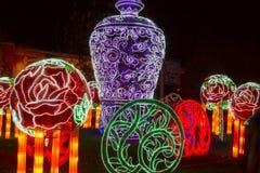 Chinese Lantern Festival  New Year Blue and white porcelain. ALBUQUERQUE, NEW MEXICO, USA- NOVEMBER 12,2017: Chinese Lantern Festival lit up at night to Royalty Free Stock Photos