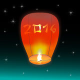 Chinese lantern 2016. Chinese lantern, flying in the night sky star with numbers 2016 on it Stock Photos
