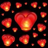 Chinese lantern heart shape. Invitation background Stock Photo