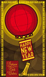 Chinese Lantern with New Year Greeting Message, Vector Illustration royalty free stock image