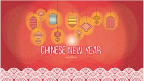 Chinese lantern set for new year 2019 wallpaper in red background vector illustration