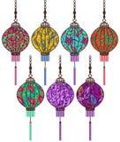 Chinese lantern set Royalty Free Stock Images