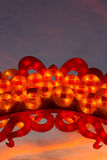 Chinese lantern. Shaped in the form of luck bringing coins Royalty Free Stock Photos