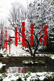 Chinese lantern. In Spring Festival, every family all Chinese hang red lanterns。Hang up the red lantern in snow, sees happy new year atmosphere royalty free stock images