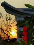 Chinese lantern at sunset. Chinese lantern and tree at sunset royalty free illustration