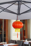 Chinese lantern. Traditional red chinese lantern in oriental restaurant Stock Image