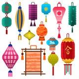 Chinese lantern vector paper lightertraditional holiday celebrate Asia festive or wedding lantern graphic celebration. Lamp illustration Stock Image