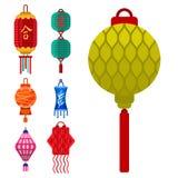 Chinese lantern vector paper lightertraditional holiday celebrate Asia festive or wedding lantern graphic celebration. Lamp illustration Royalty Free Stock Photos