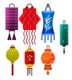 Chinese lantern vector paper lightertraditional holiday celebrate Asia festive or wedding lantern graphic celebration. Lamp illustration Royalty Free Stock Image