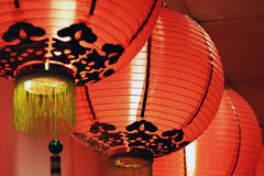 Chinese lanterns. A row of Chinese lanterns as decoration for Chinese New Year Royalty Free Stock Photos