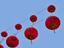 Chinese lanterns. Chinese red lanterns hanging in the sky Stock Photos