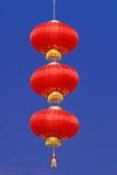 Chinese Lanterns. Traditional Red Chinese Lanterns swaying over blue sky Stock Photos