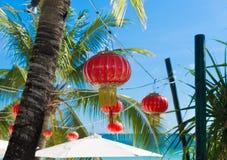 Chinese lanterns on beach Stock Photo