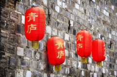 Chinese lanterns on a brick wall Royalty Free Stock Photography