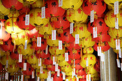 Chinese lanterns. In the buddhist temple tags attached to the lanterns Royalty Free Stock Photography