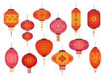 Free Chinese Lanterns. Chinatown And Japanese Street Holiday Red Lamp Decoration. Asian Traditional New Year Vector Elements Stock Photos - 162268193