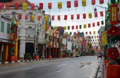 Chinese lanterns decorate South Bridge Road in Chinatown, Singapore royalty free stock photos