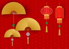 Chinese lanterns with fan on white wavy background Stock Photo