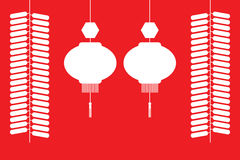 Chinese lanterns and firecrackers. White silhouette on red background.  Vector illustration Stock Photography