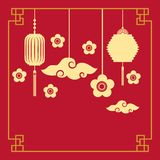Chinese lanterns and flowers decorations. Silhouette of chinese lanterns and flowers decorations hanging over red background. colorful design.  illustration Royalty Free Stock Photography
