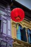 Chinese lanterns in front of shop houses Royalty Free Stock Images
