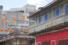 Chinese lanterns hanging in old Chinatown royalty free stock photography