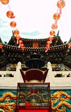 Chinese lanterns hanging with a dramatic point of view Royalty Free Stock Photos