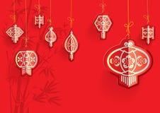 Chinese Lanterns illustration. Chinese Lanterns on the red bamboo background Stock Photography