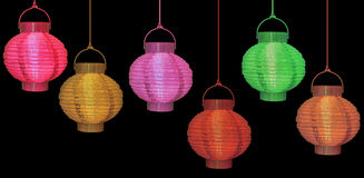 Chinese lanterns isolated - red, green, gold on black Stock Images