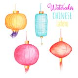 Chinese lanterns isolated on white background. China New Year postcard. Colorful paper lanterns in asian style. Chinese lanterns clipart. Oriental lightning Stock Images