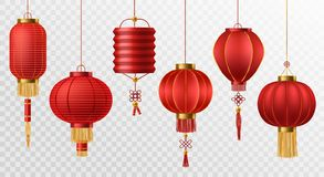 Free Chinese Lanterns. Japanese Asian New Year Red Lamps Festival 3d Chinatown Traditional Realistic Element Vector Set Royalty Free Stock Images - 161713829