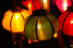 Chinese lanterns with lights glowing, chinese new Stock Photos