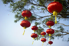 Chinese lanterns, low angle view. Chinese culture, Hanging lanterns, happy New Year Royalty Free Stock Images