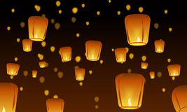 Chinese lanterns. In the night sky, vector Stock Images