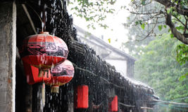 Chinese lanterns in rain. Some Chinese lanterns in rainy day of old town Royalty Free Stock Images