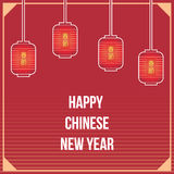 Chinese lanterns on red background Stock Images