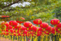 Chinese Lanterns. Red Chinese lanterns hanging from Thailand Royalty Free Stock Images