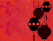 Chinese lanterns and sakura background Stock Photos