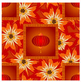 Chinese lanterns on seamless flowe Stock Photo