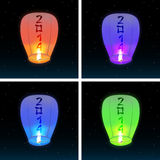 Chinese lanterns 2014. A set of images of Chinese lanterns, flying in the night sky. Vector illustration Stock Illustration